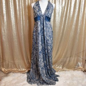 Blue formal prom halter top boho long dress size 8